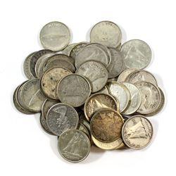 Estate Lot 1943 to 1968 Canada Silver 10-cent. 50pcs.