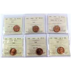 Lot of 6x Canada 1-cent ICCS Certified Coins. You will receive 1962 MS-64, 1963 MS-65, 1965 Small Be