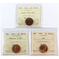 Lot of 3x Canada 1-cent ICCS Certified Coins. You will receive 1962 Double 962 MS-63, 1963 Hanging 3