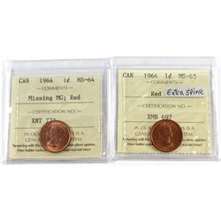 Lot of 2x 1964 Canada 1-cent Variety ICCS Certified Coins. You will receive Missing 'MG' MS-64 & Ext