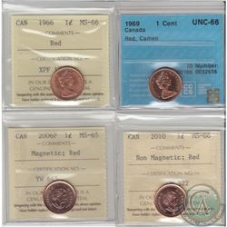 1966 Canada 1-cent ICCS Certified MS-66 Red, 1969 CCCS Certified UNC-66 Red Cameo, 2006P Magnetic IC