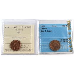 1945 Canada 1-cent ICCS Certified MS-63 Red & 1951 1ct ICCS MS-64 Red and Brown. 2pcs