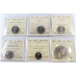 1974 5-cent Double 4 SP-64 Cameo, 1977 5-cent Low 7 MS-64, 1978 5-cent MS-65, 1980 5-cent Numismatic