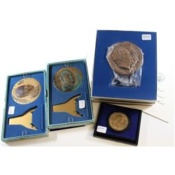 Lot of United States Medallions; 2x 1969 Richard Nixon Inaugural Medals (corrosion), 1972 Bicentenni