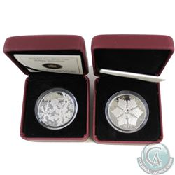 2012 Canada $20 Holiday Snowflake with Crystal & 2012 Canada $20 Holiday Snowstorm Fine Silver Coins