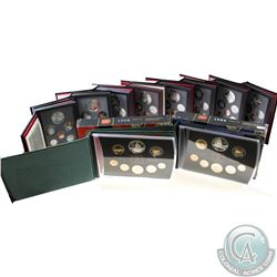 1990 to 1999 Canada Proof Sets. Comes with Original Mint packaging (light toning). 10 sets