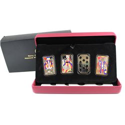 2008 Canada Complete 4-coin Coloured Playing Card Money Set in Deluxe Case (outer cardboard sleeve l