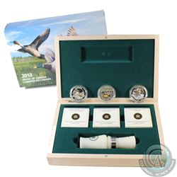2013-2014 $10 Ducks of Canada 3-coin Fine Silver Set in Deluxe Display Box with Duck Caller (TAX Exe