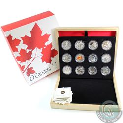 2013 Canada $10 Complete 12-coin O Canada Series Fine Silver Coin Set. Tax Exempt.