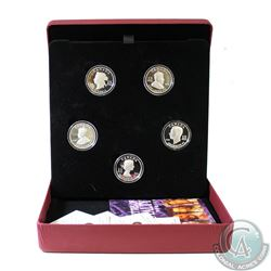 2008-2009 Canada $15 Vignettes of Royalty 5-coin Sterling Silver Set (one corner of outer cardboard