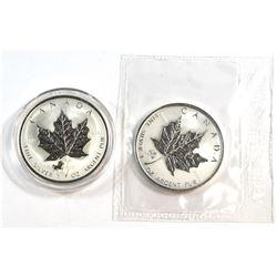 2002 Canada $5 Horse Privy Silver Maple Encapsulated & 2005 Canada $5 Rooster Privy Silver Maple Sea