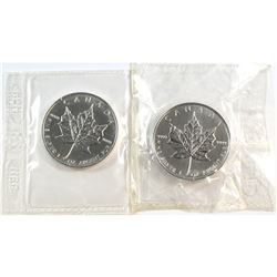 KEY DATES! 1996 & 1997 Canada $5 Fine Silver Maples Sealed in Original Wrap (Tax Exempt). Please not