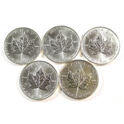 5x 1991 Canada $5 Fine Silver Maple Leafs (Tax Exempt). Please note the coins contain toning/spots.