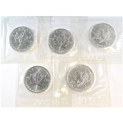 5x 1990 Canada $5 Fine Silver Maple Leafs sealed in Original RCM packaging (Tax Exempt). Please note
