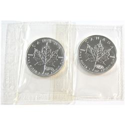 Pair of 1999-2000 Fireworks Privy Mark 1oz .9999 Fine Silver Maple Leafs Sealed in Original RCM Pack