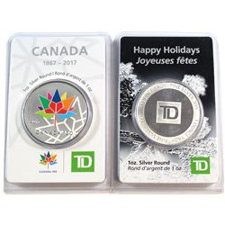 Pair of TD 1oz Fine Silver Rounds sealed in Original Packaging (Tax Exempt). 2pcs