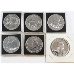 All 6x 2011-2013 Canada $5 Wildlife Series 1oz .9999 Fine Silver Coins. This lot includes: 2011 Wolf