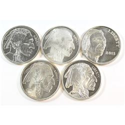 Lot of Buffalo/Indian Head 1oz Fine Silver Rounds (Tax Exempt) 5pcs.