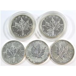 2009-2013 Canada $5 1oz Fine Silver Maple Leaf Lot (Tax Exempt). Please note coins are toned/marked.