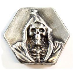 Limited Mintage! Beaver Bullion 4oz Fine Silver 'Death' Hexagon Bar (Tax Exempt)