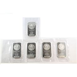 Sunshine 1oz Fine Silver Bars Sealed in Original Wrap (tax Exempt). 5pcs.