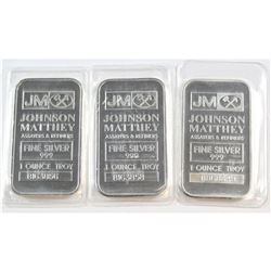 Johnson Matthey 1oz Fine Silver Bars 'B Series' (Tax Exempt). Bars come sealed in the Original Wrap.