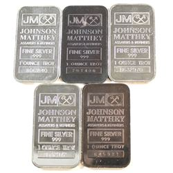 Lot of Johnson Matthey 1oz Fine Silver Bars (Tax Exempt). 5pcs.