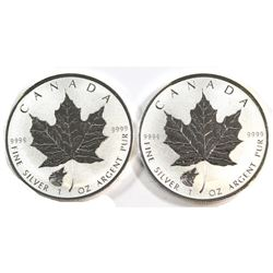 Pair of Canada $5 Wolf Privy Fine Silver Maple Leafs (Tax Exempt) 2pcs.