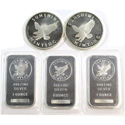 Lot of Sunshine 1oz Fine Silver Rounds & Bars (Tax Exempt). 5pcs.