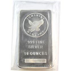 Sunshine 10oz Fine Silver Bar Sealed (Tax Exempt)