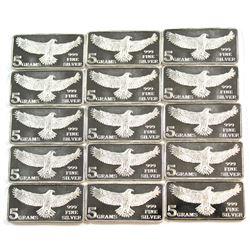Lot of Monarch Precious Metals Eagle 5 Gram Fine Silver Bars (Tax Exempt). 15pcs.