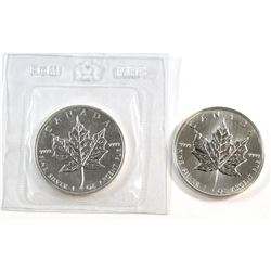1988 & 1989 Canada $5 1oz Fine Silver Maple Leafs (Tax Exempt). 1988 comes sealed in Original RCM pa