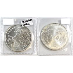 2015 Silver Shield 1oz Silver Rounds - Freedom Girl & A Hero is Born (Tax Exempt). 2pcs