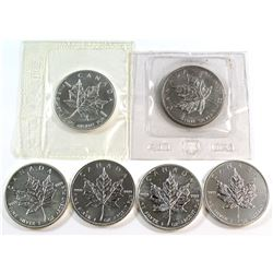 1989-2012 Canada $5 1oz Fine Silver Maple Leafs (Tax Exempt). You will receive: 1989, 2005, 2008, 20
