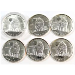 2006 Canada $1 Wolf 1/2 ounce Fine Silver Coin Lot (Tax Exempt). Please note the coins may be toned/