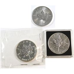 2006, 2013, 2016 Canada $5 1oz Fine Silver Maples (Tax Exempt). Please note coins may be lightly ton