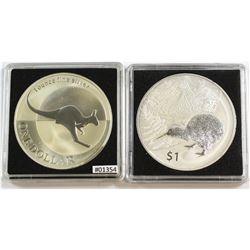 2004 Australia 1oz Kangaroo & 2014 New Zealand 1oz Kiwi Fine Silver Coins (Tax Exempt). Please note