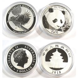 2018 Australia 1oz Kookaburra & 2018 China 30g Panda Fine Silver Coins (Tax Exempt) 2pcs.