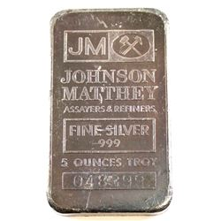 Johnson Matthey 5oz Fine Silver Bar 'USA Production' with JM Logo (Tax Exempt) Serial #048399
