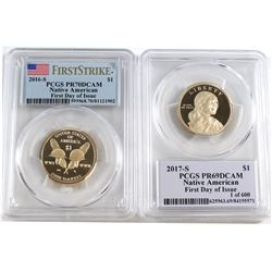 2016 & 2017 S USA Native American Dollar PCGS Certified PR 69 Deep Cameo *First Day of Issue*