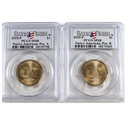 2010-P USA Native American Dollar Position A & B PCGS Certified SP-68. 2pcs