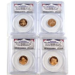 Set of 4x 2009-S USA Lincoln Bicentennial 1-cent PCGS Certified PR-69 Deep Cameo. You will receive t