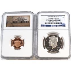 2011-S USA 1-cent & 2011-S Clad 50-cent NGC Certified PF 70 Ultra Cameo. 2pcs