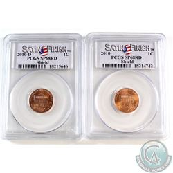 2010 USA Regular & 2010-D Shield 1-cent Cents PCGS Certified SP-68 Red. 2pcs