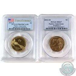 2011S USA Native American Dollar PCGS Certified PR-69 Deep Cameo & 2012-D Native American Dollar Pos