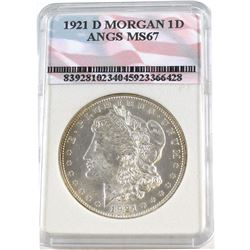1921-D Morgan One Dollar ANGS Certified MS-67