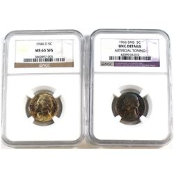 1944-D USA 5-cent NGC Certified MS-65 5FS & 1966 USA SMS 5-cent NGC Certified UNC Details. 2pcs