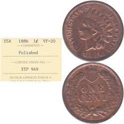 1886 USA 1-cent ICCS Certified VF-20 (Polished)