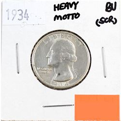 1934 USA 25-cents Heavy Motto Brilliant Uncirculated (MS-62 to MS-64) Condition (Scratched)