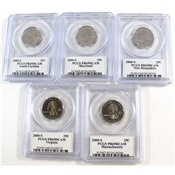 Lot of 5x 2000 USA Statehood Quarters PCGS Certified PR-69. 5pcs